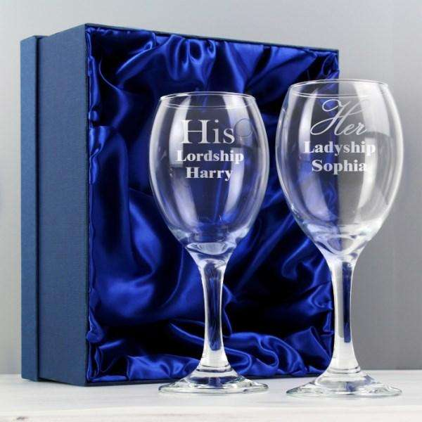 Personalised His & Her Wine Glass Set from Pukkagifts.uk