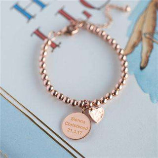 Personalised Rose Gold Christening Bracelet With Personalised Gift Box from Pukkagifts.uk