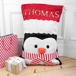 Personalised Penguin Christmas Gift Sack