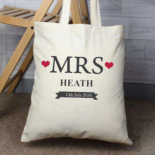 Mrs... Personalised Cotton Tote Bag from Pukkagifts.uk