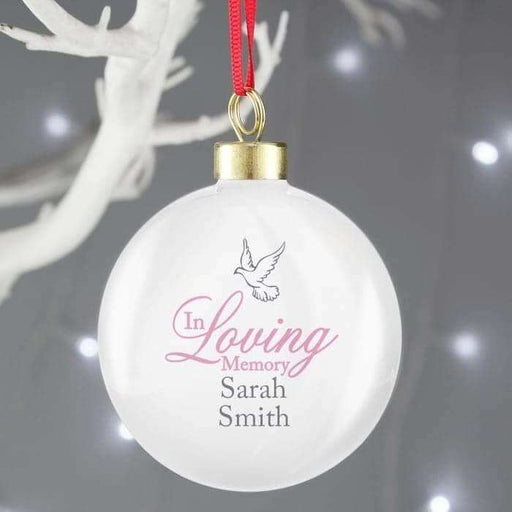Personalised In Loving Memory Pink Bauble from Pukkagifts.uk