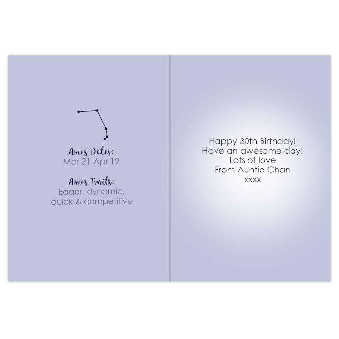 Personalised Aries Zodiac Star Sign Birthday Card (March 21st-April 19th)