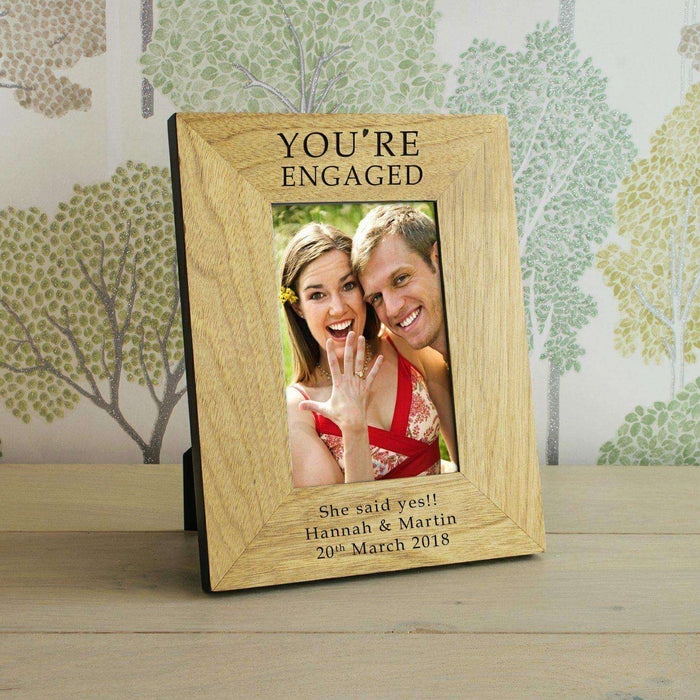 "Personalised You're Engaged Photo Frame (6"" X 4"") from Pukkagifts.uk"