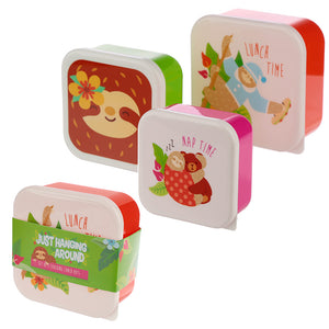 Sloth Design Plastic Lunch Boxes Set of 3