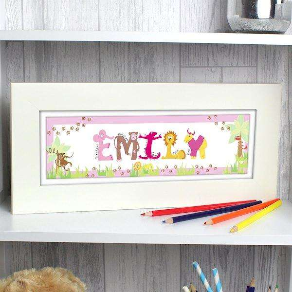 Personalised Animal Name Frame Pink from Pukkagifts.uk