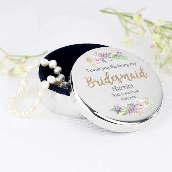 Personalised Thank You For Being My Bridesmaid Trinket Box from Pukkagifts.uk