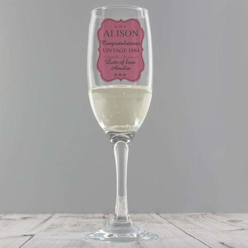 Personalised Vintage Champagne Glass Flute from Pukkagifts.uk