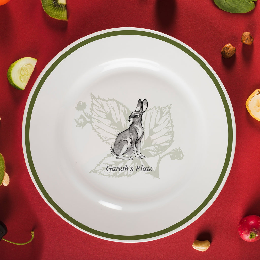 "Personalised Watership Down Hazel Rimmed Plate 8"" from Pukkagifts.uk"