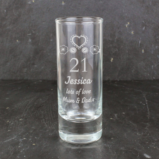 Personalised 21st Birthday Shot Glass