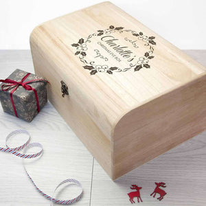 Personalised Christmas Eve Chest With Mistletoe Wreath,Pukka Gifts