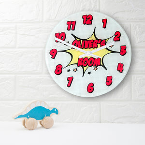 Pow! Personalised Comic Book Wall Clock from Pukkagifts.uk