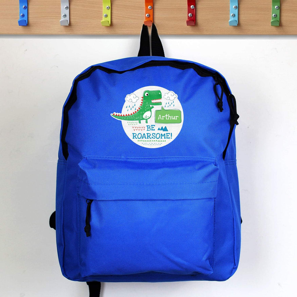 Personalised Be Roarsome Dinosaur Backpack from Pukkagifts.uk