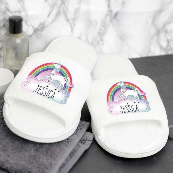 Personalised Unicorn Velour Slippers from Pukkagifts.uk