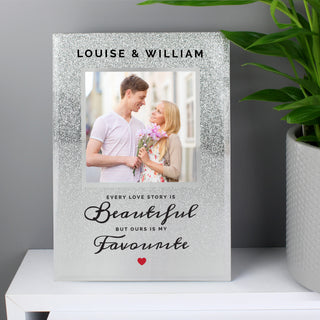 Personalised Every Love Story Is Beautiful 4x4 Glitter Glass Photo Frame