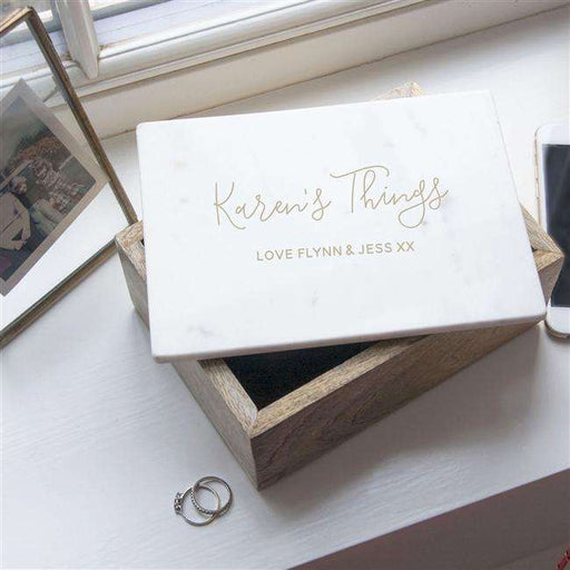 Personalised Keepsake Wooden Box with Marble Lid from Pukkagifts.uk