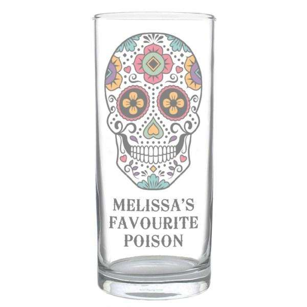 Personalised Sugar Skull Hi Ball Glass from Pukkagifts.uk