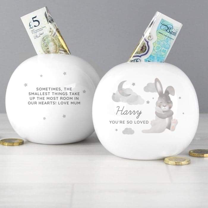 Personalised Baby Bunny Round Money Box from Pukkagifts.uk
