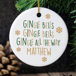 Personalised Gin-gle Bells Round Ceramic Christmas Decoration