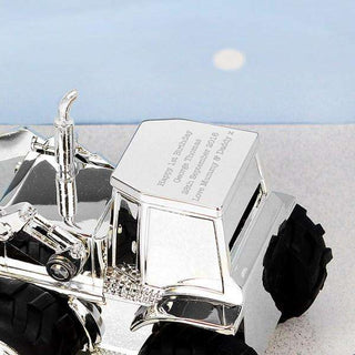 Personalised Engraved Silver Plated Digger Money Box from Pukkagifts.uk