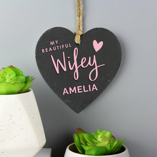 Personalised My Beautiful Wifey Slate Hanging Heart Decoration