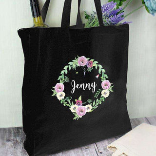 Personalised Floral Black Cotton Bag from Pukkagifts.uk