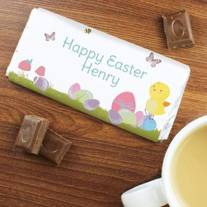 Personalised Easter Meadow Chick Milk Chocolate Bar from Pukkagifts.uk