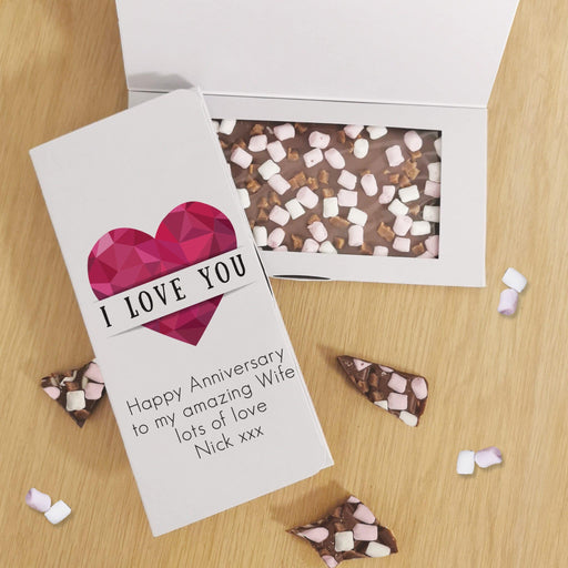 Personalised I Love You Heart Milk Chocolate Card