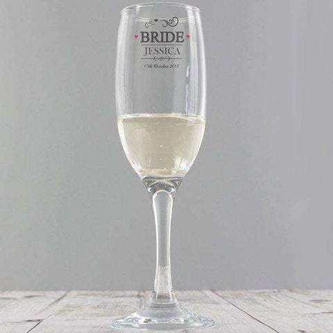 Personalised Bride Champagne Glass Flute,Pukka Gifts