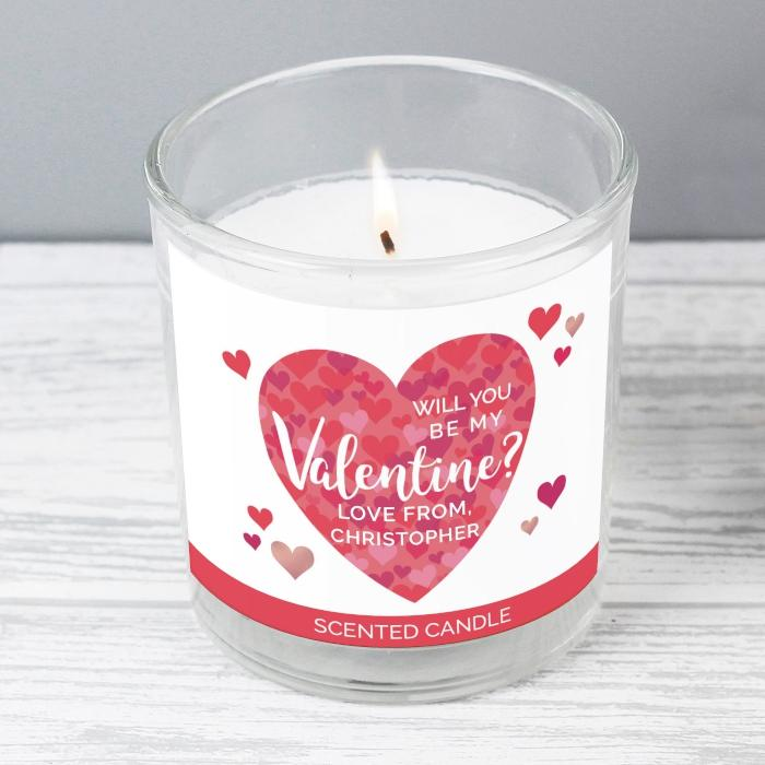 Personalised Will You Be My Valentine Confetti Hearts Scented Jar Candle from Pukkagifts.uk