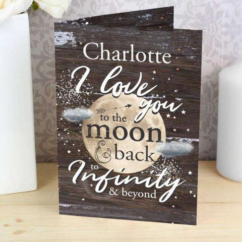 Personalised To the Moon & Infinity... Card from Pukkagifts.uk