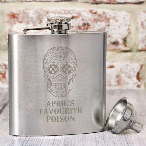 Personalised Sugar Skull Hip Flask from Pukkagifts.uk