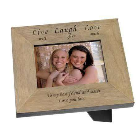 Engraved Live Well Laugh Often Love Much Wooden Photo Frame 6x4 from Pukkagifts.uk