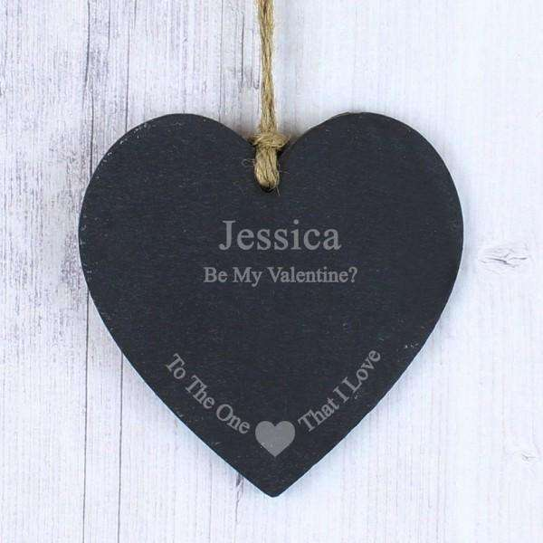 Personalised The One I Love Slate Heart Sign Decoration from Pukkagifts.uk