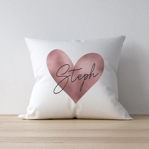 Personalised Rose Gold Heart Cushion & Insert from Pukkagifts.uk