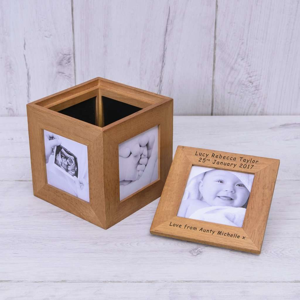 Personalised Oak Photo Cube - Any Message from Pukkagifts.uk