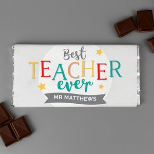 Personalised Best Teacher Ever Chocolate Bar from Pukkagifts.uk