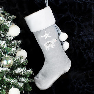 Personalised Baby Polar Bear Luxury Silver Grey Christmas Stocking