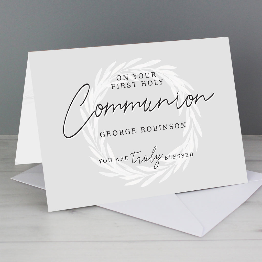 Personalised 'Truly Blessed' First Holy Communion Card