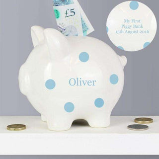 Personalised Blue Polka Dot Piggy Bank from Pukkagifts.uk