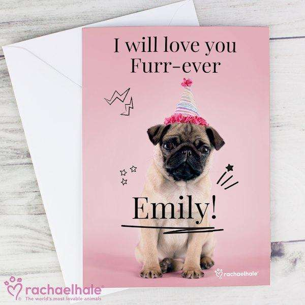 Personalised Rachael Hale Doodle Pug Card from Pukkagifts.uk