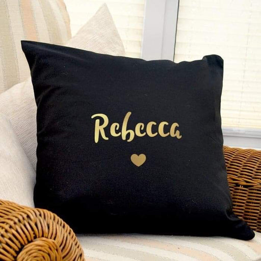 Personalised Gold Name Heart Black Cushion Cover from Pukkagifts.uk