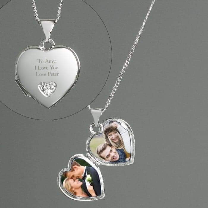 Personalised Sterling Silver and Cubic Zirconia Heart Locket Necklace from Pukkagifts.uk