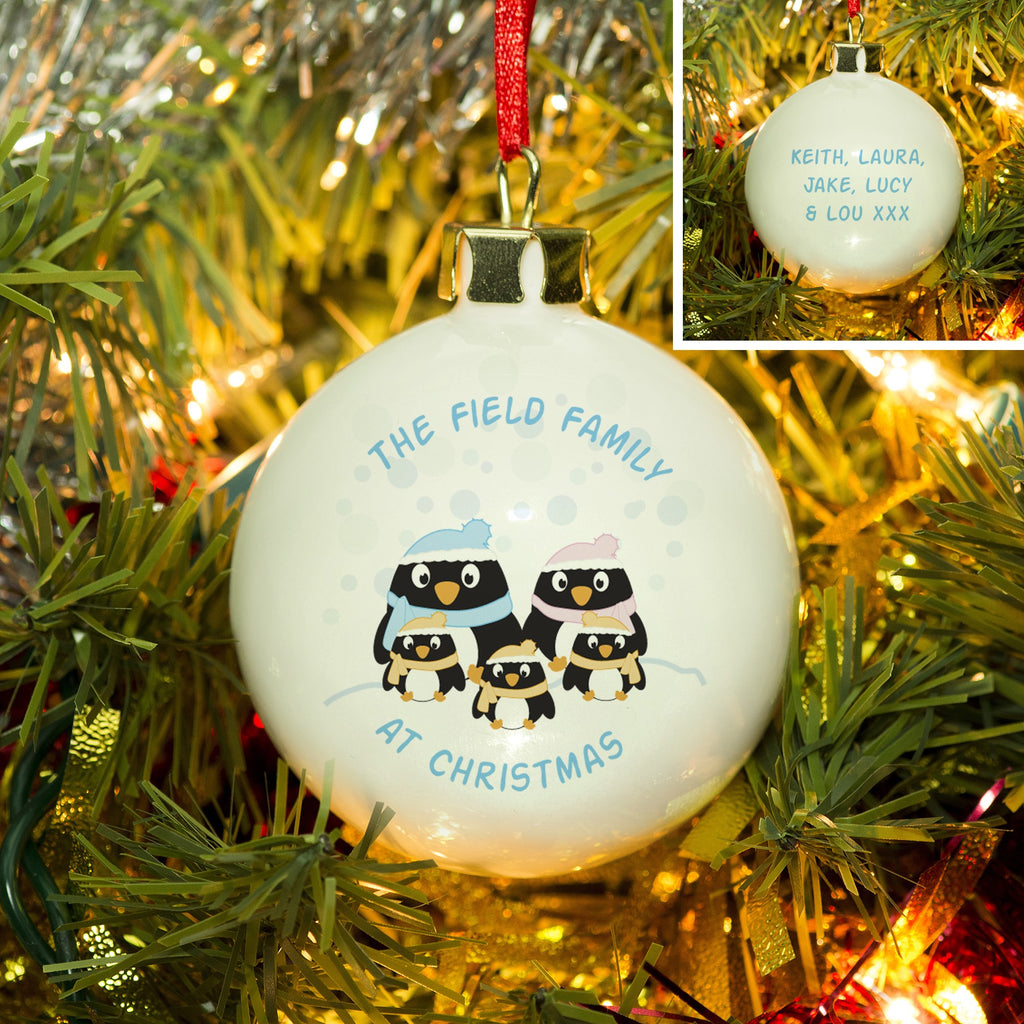 Personalised Penguin Family Bauble from Pukkagifts.uk