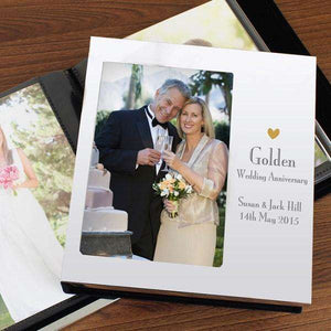 Personalised Decorative Golden 50th Anniversary Photo Frame Album 4x6,Pukka Gifts