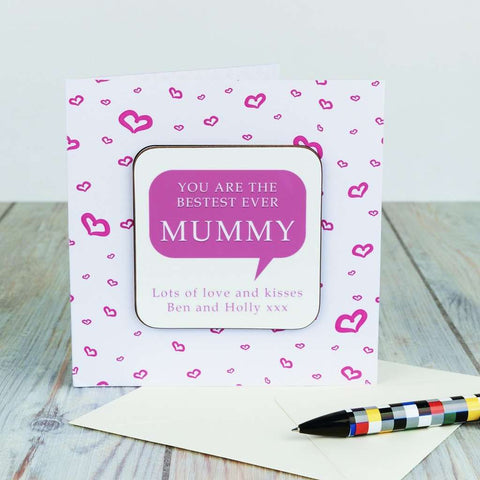 Personalised Coaster Card - Bestest Mummy from Pukkagifts.uk