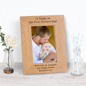 Personalised To Daddy On Our First Fathers Day Photo Frame from Pukkagifts.uk