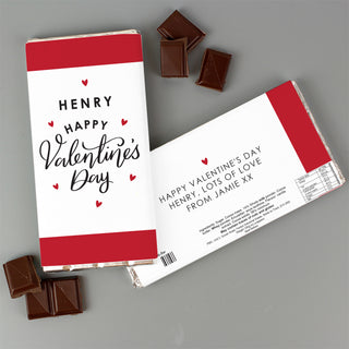 Personalised Happy Valentine's Day Milk Chocolate Bar
