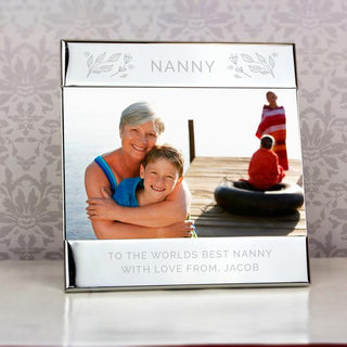 Personalised Silver Floral Square 6x4 Photo Frame from Pukkagifts.uk
