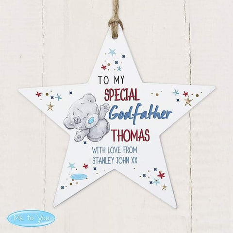 Personalised Me to You Godfather Wooden Star Decoration from Pukkagifts.uk