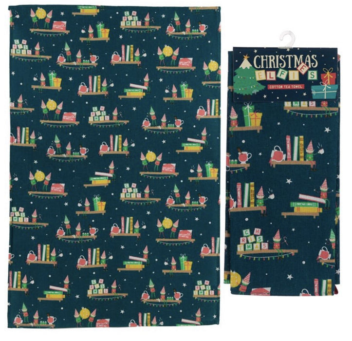 Poly Cotton Tea Towel - Christmas Elf Mulled Wine